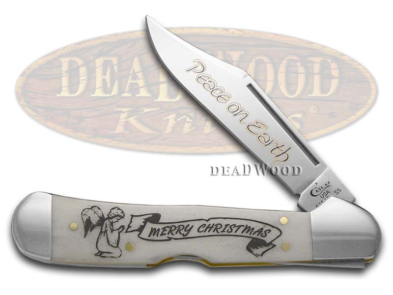 Case XX Peace on Earth Natural Bone Copperlock Stainless Pocket Knife