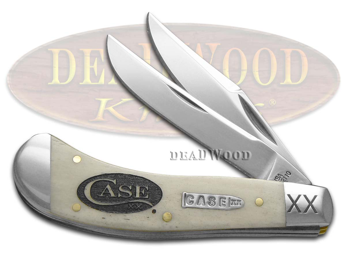 Case XX Logo Etched Natural Bone Saddlehorn 1/500 Stainless Pocket Knife Knives