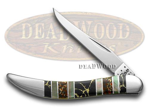 Case XX Exotic Black Aztec Stone Genuine Black Lip Pearl 1/500 Toothpick Pocket Knife Knives