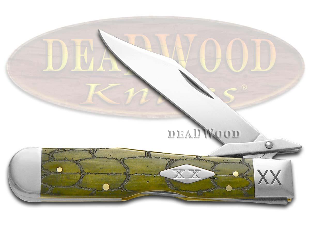 Case XX Tortoise Shell Olive Green Bone Cheetah 1/500 Stainless Pocket Knife