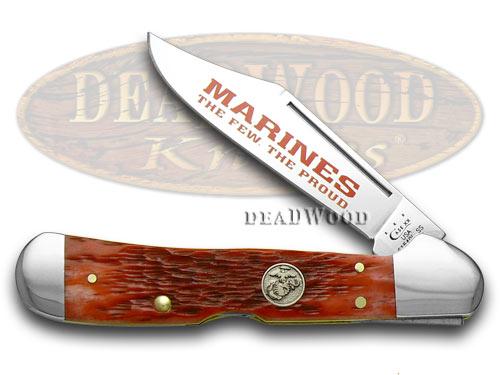 Case XX Red Jigged Bone Marines The Few The Proud Copperlock Pocket Knife