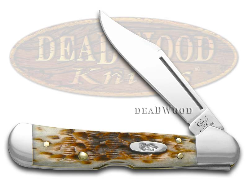 Case XX Jigged Amber Bone Mini Copperlock Stainless Pocket Knife