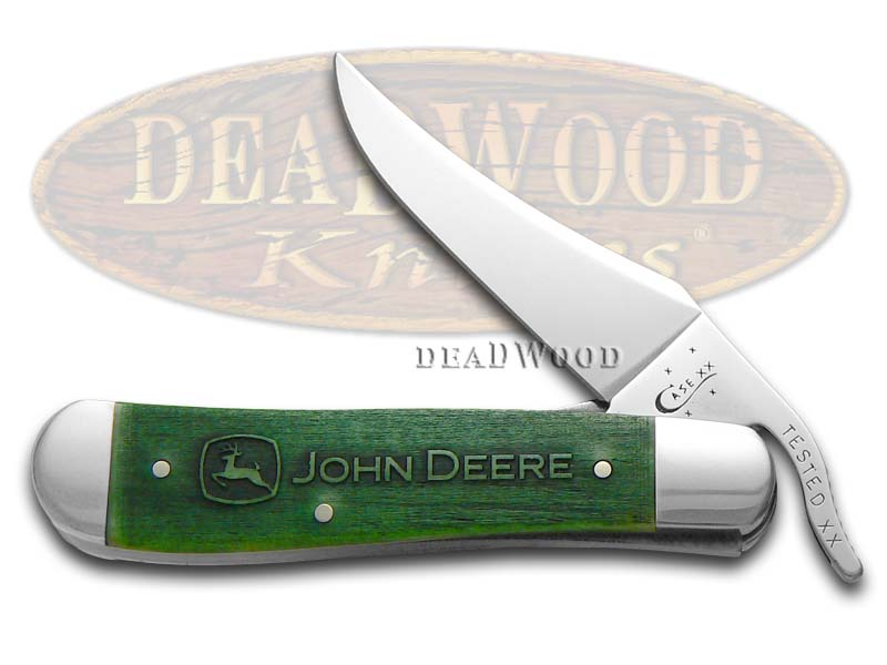Case XX John Deere Embellished Green Bone Russlock Stainless Pocket Knife Knives
