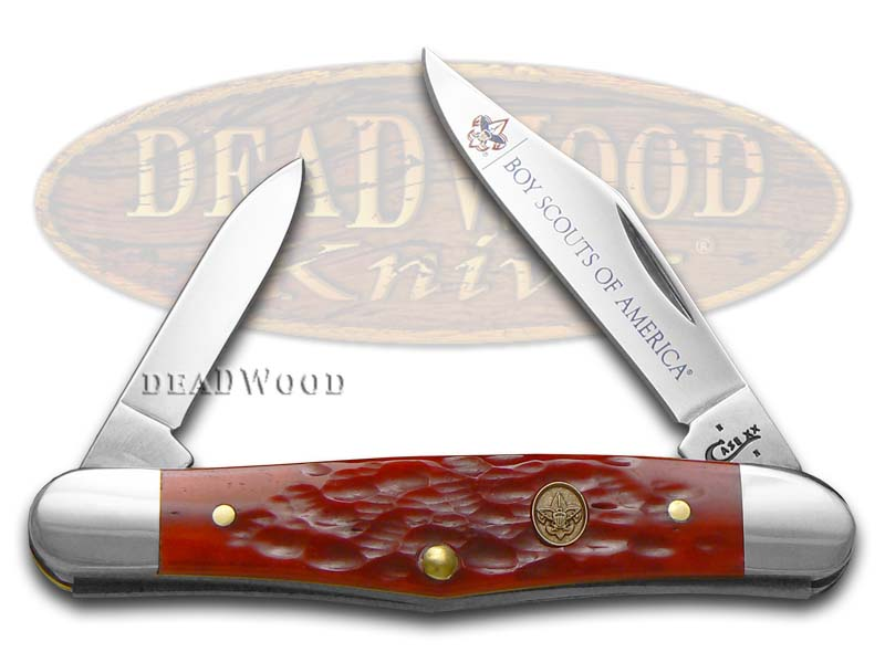 Case XX Boy Scouts of America Jigged Red Bone Half Whittler Stainless Pocket Knife Knives