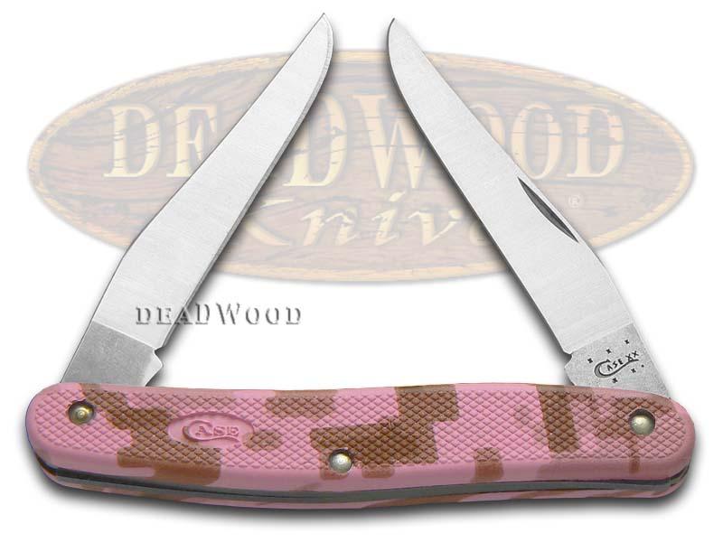 Case XX Pink Camo Caliber Zytel Muskrat Stainless Pocket Knife Knives
