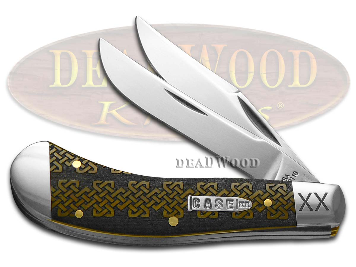Case XX Celtic Knot Antique Bone Saddlehorn 1/500 Stainless Pocket Knife