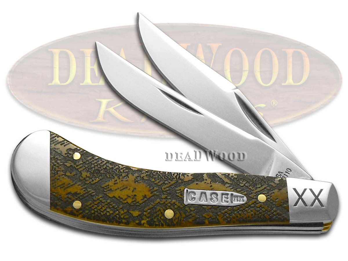 Case XX Diamondback Rattlesnake Antique Bone Saddlehorn 1/500 Stainless Pocket Knife
