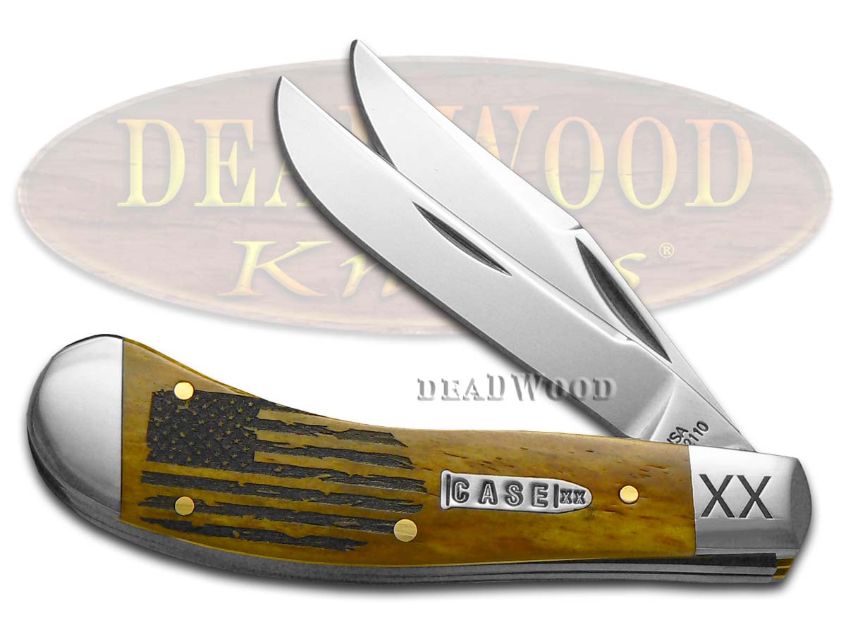 Case XX USA Flag Antique Bone Saddlehorn 1/500 Stainless Pocket Knife