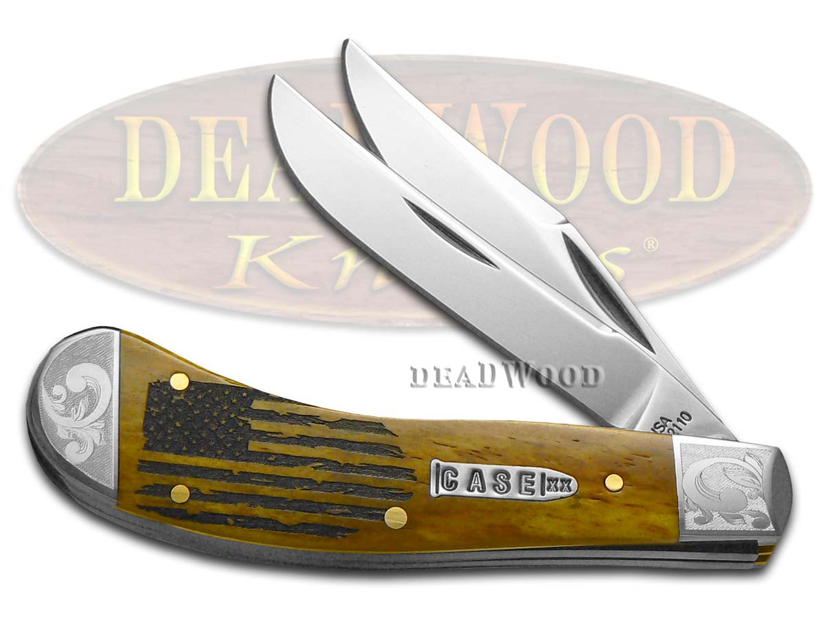 Case XX USA Flag Antique Bone Saddlehorn Scrolled 1/200 Stainless Pocket Knife