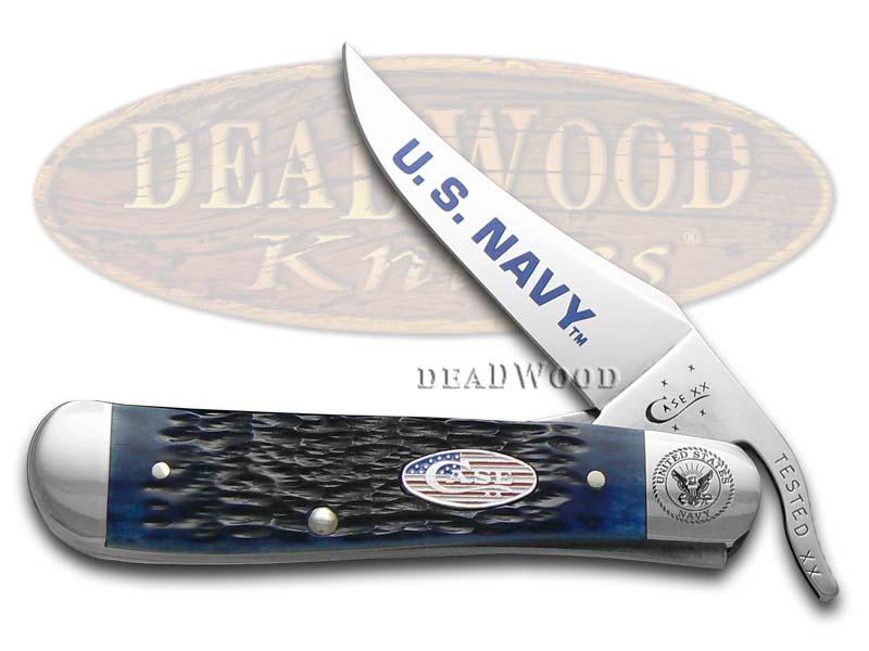 Case XX U.S. Navy Jigged Navy Blue Bone Russlock Stainless Pocket Knife Knives