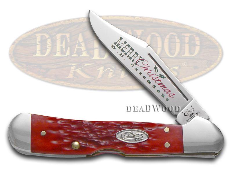 Case XX Christmas Jigged Dark Red Bone Mini Copperlock Stainless Pocket Knife