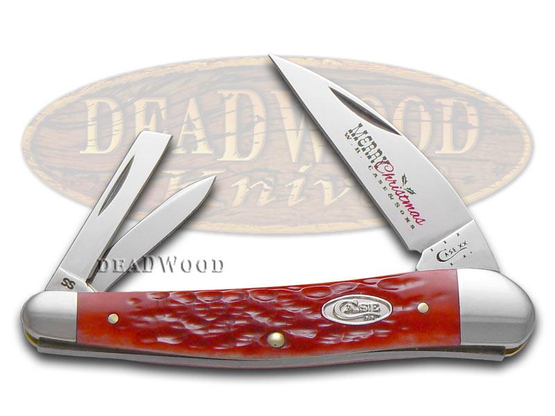 Case XX Christmas Jigged Dark Red Bone Seahorse Whittler Stainless Pocket Knife Knives