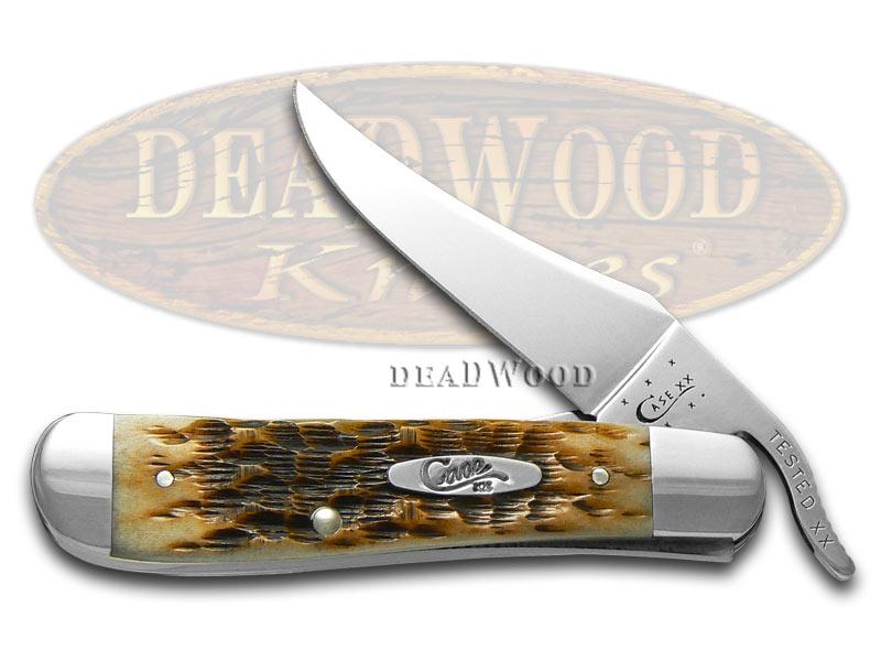 Case XX Jigged Amber Bone Russlock Stainless Pocket Knife Knives
