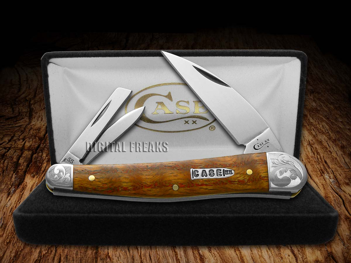 Case Xx Scrolled Curly Oak Wood Seahorse Whittler