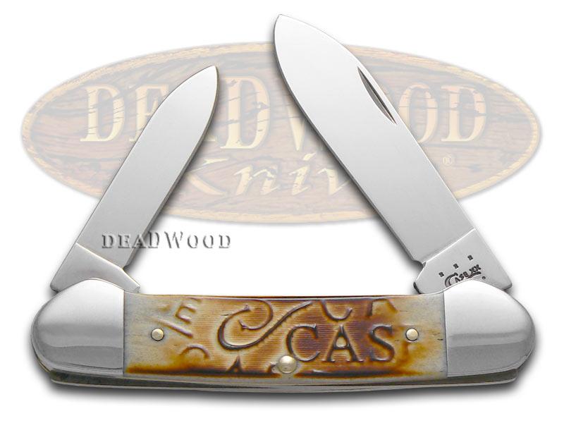Case XX Embellished Burnt Oatmeal Bone Canoe Stainless Pocket Knife Knives