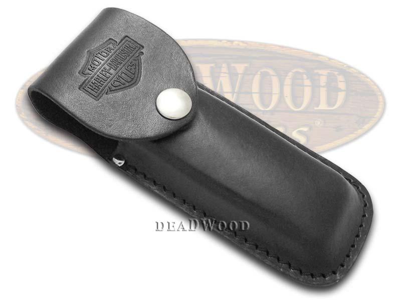 Case XX Harley Davidson Large Black Leather Belt Sheath for Pocket Knives