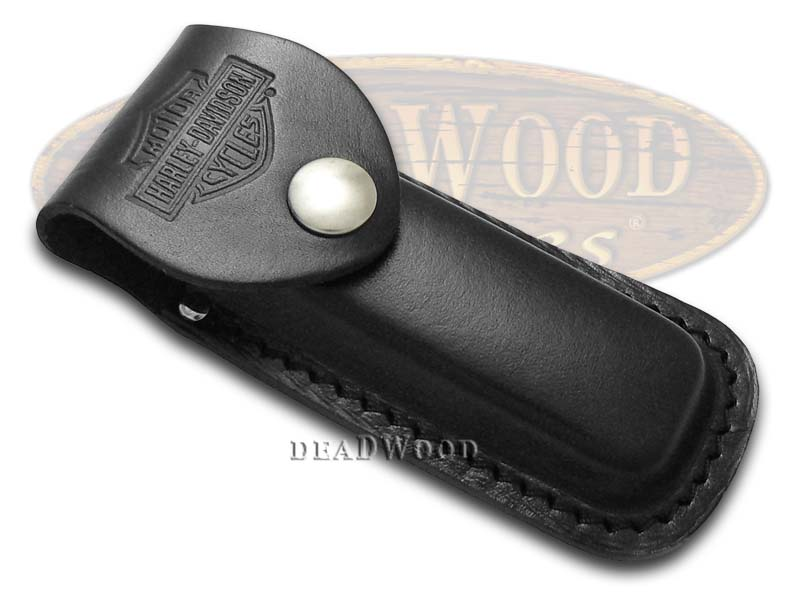 Case XX Harley Davidson Medium Black Leather Belt Sheath for Pocket Knives