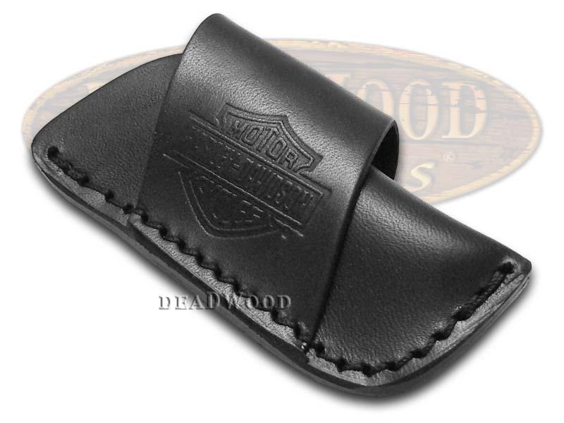 Case XX Harley Davidson Small Black Leather Sheath for Pocket Knives