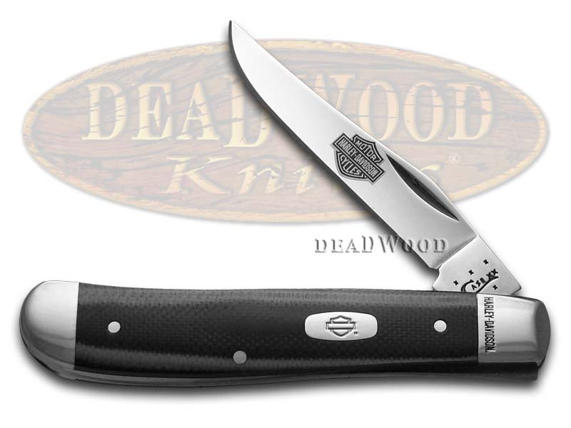 Case XX Harley-Davidson Black & Silver G-10 Mini Trapper Stainless Pocket Knife