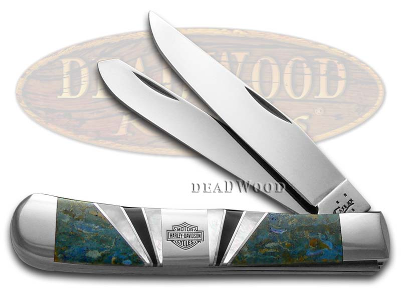 Case XX  Harley-Davidson Exotic Blue Coral Trapper Stainless Pocket Knife