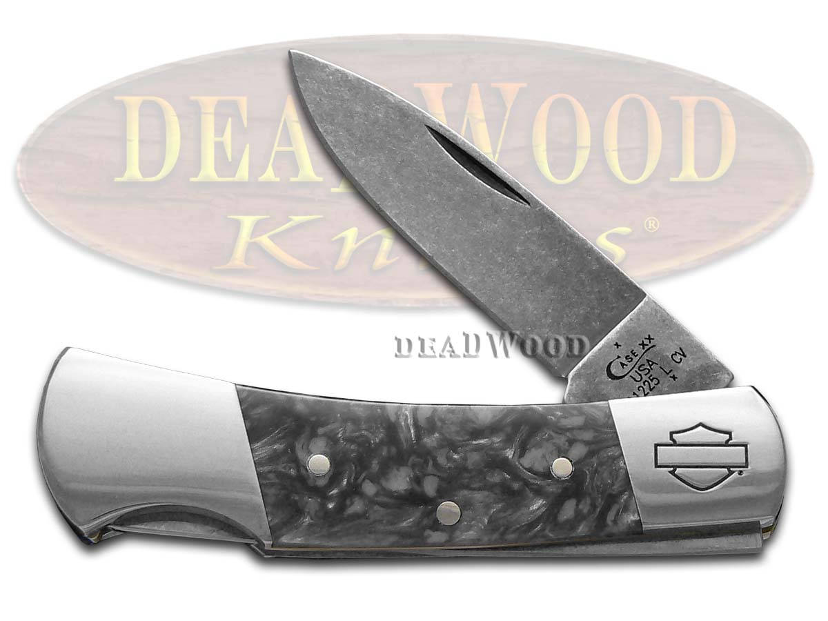 Case XX Harley-Davidson Black Smoke Lockback Chrome Vanadium Pocket Knife
