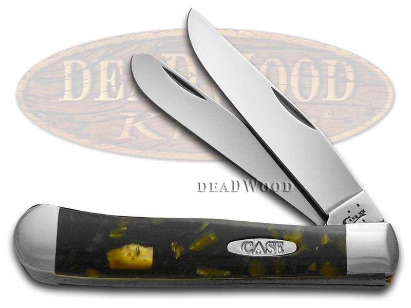 Case XX Smooth Chipped Antique Gold & Black Pearl Corelon Trapper Stainless Pocket Knife Knives