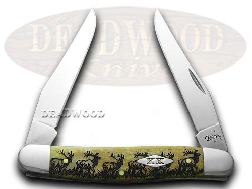 Case XX Elk Walking 1/500 Muskrat Smooth Antique Bone Pocket Knife Knives