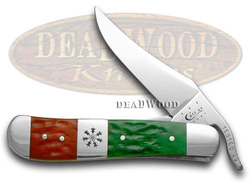 Case XX Red Bright Green Jigged Bone Christmas Russlock Pocket Knife Knives