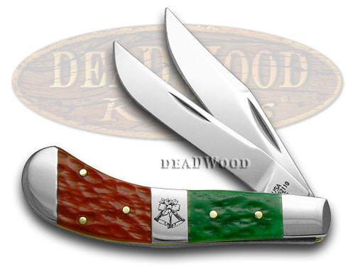 Case XX Red Bright Green Jigged Bone Christmas Saddlehorn Pocket Knife Knives