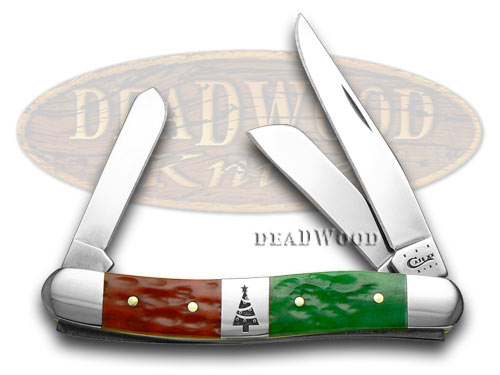 Case XX Red Bright Green Jigged Bone Christmas Stockman Pocket Knife Knives
