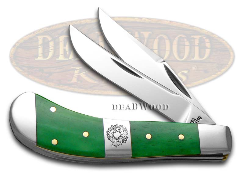 Case XX Christmas Bright Green Bone Saddlehorn Stainless Pocket Knife Knives
