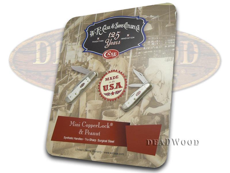 Case XX Jigged White Delrin Mini Copperlock & Peanut Set Stainless Pocket Knives
