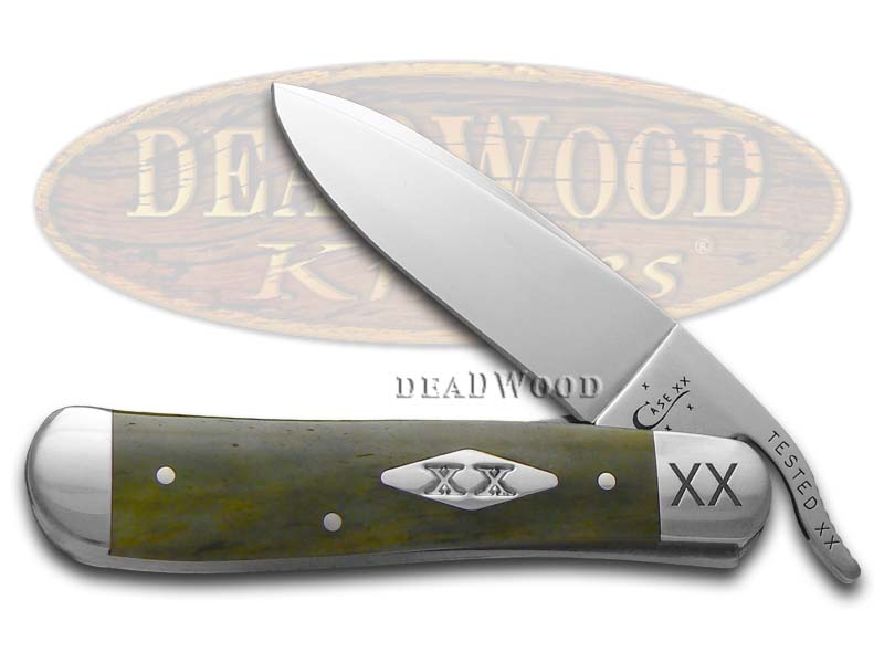 Case XX Engraved Bolster Smooth Olive Green Bone Russlock 1/500 Stainless Pocket Knife Knives