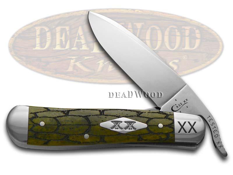 Case XX Engraved Bolster Tortoise Shell Olive Green Bone Russlock 1/500 Stainless Pocket Knife