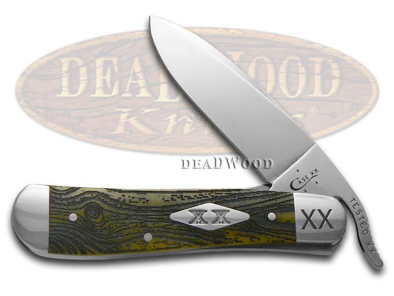 Case XX Engraved Bolster Wood Grain Olive Green Bone Russlock 1/500 Stainless Pocket Knife