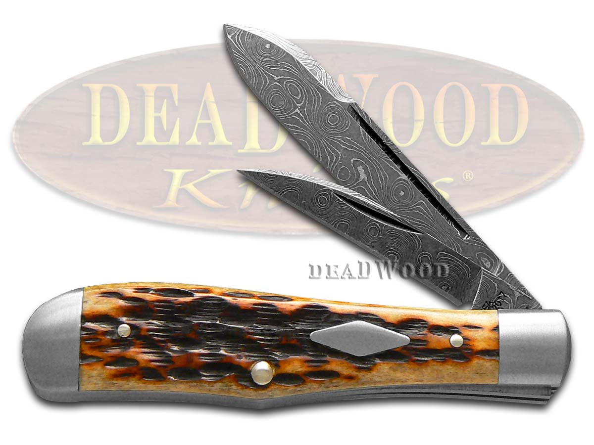 Case XX Bose Damascus Jigged Dark Molasses Bone Eureka Jack Pocket Knife Knives