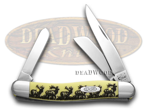 Case XX Elk Etched Stockman Yellow Synthetic Pocket Knife Knives