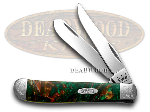 Case XX Engraved Bolster Series Rain Forest Corelon Mini Trapper Pocket Knife Knives