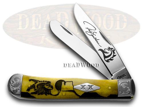 Case XX David Yellowhorse Early Morning Singer Antique Bone Trapper 1/500 Pocket Knife