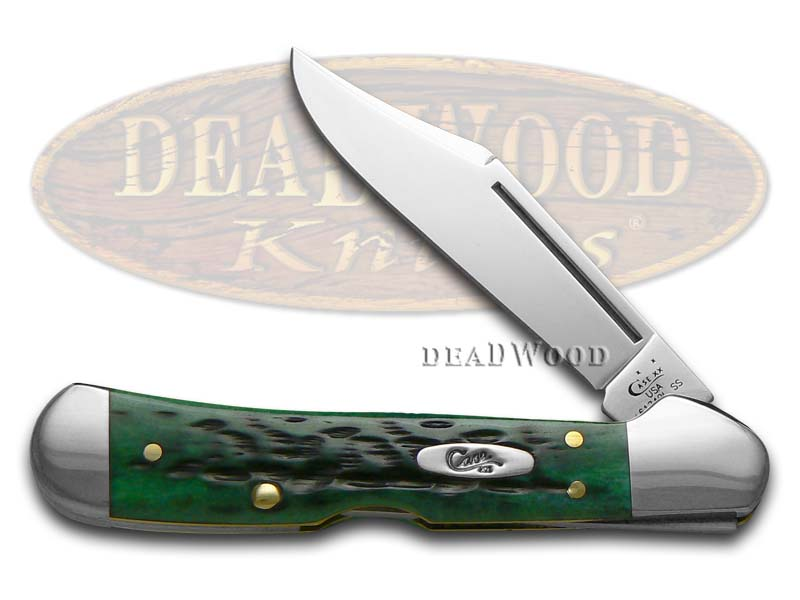 Case XX Jigged Pocket Worn Bermuda Green Bone Mini Copperlock Stainless Pocket Knife
