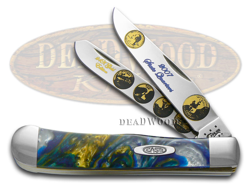 Case XX 2007 State Quarter Gold Series Trapper 1/3000 Stainless Pocket Knife Set