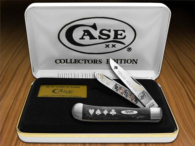 CASE XX TEXAS HOLDEM Black Pearl Trapper Pocket Knives