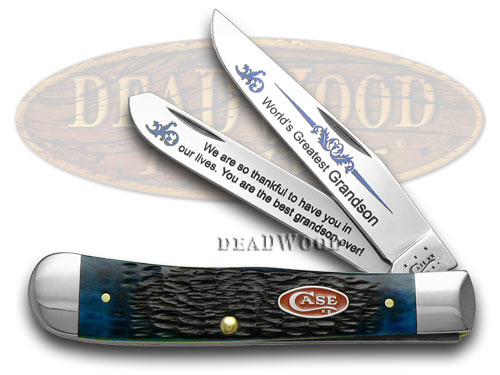 Case XX Jigged Blue Bone World's Greatest Grandson 1/600 Trapper Pocket Knife Knives