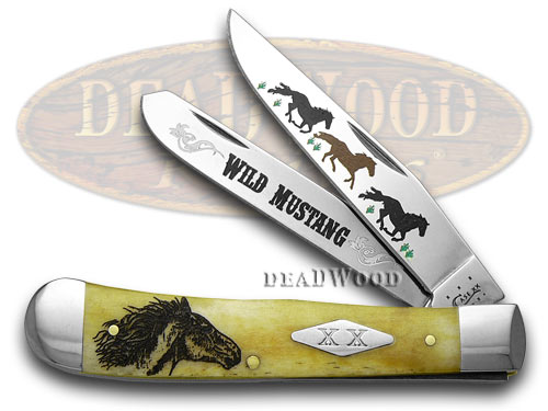 Case XX Antique Bone Wild Mustand 1/600 Trapper Pocket Knife Knives