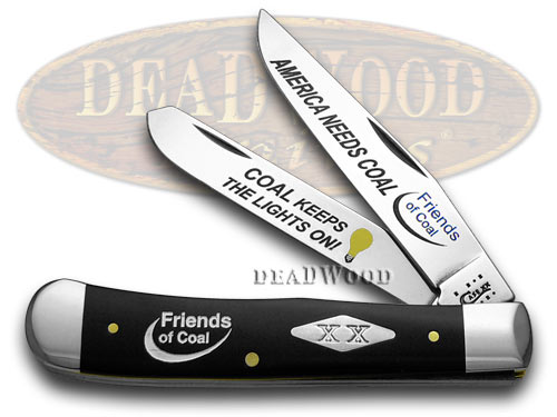 Case XX Friends of Coal America Needs Coal Black Delrin 1/500 Trapper Pocket Knife Knives