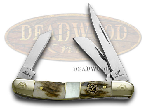 Frost Family 40th Anniversary Deer Stag and Mother Of Pearl 1/600 Range Rider Pocket Knife Knives