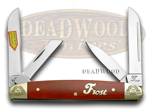 Frost Family 40th Anniversary Dark Red Smooth Bone 1/600 Congress Pocket Knife