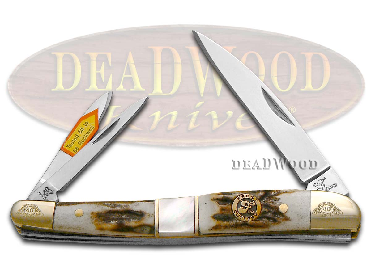 Steel Warrior Deer Stag & Mother Of Pearl Whittler 1/600 Stainless Pocket Knife Knives