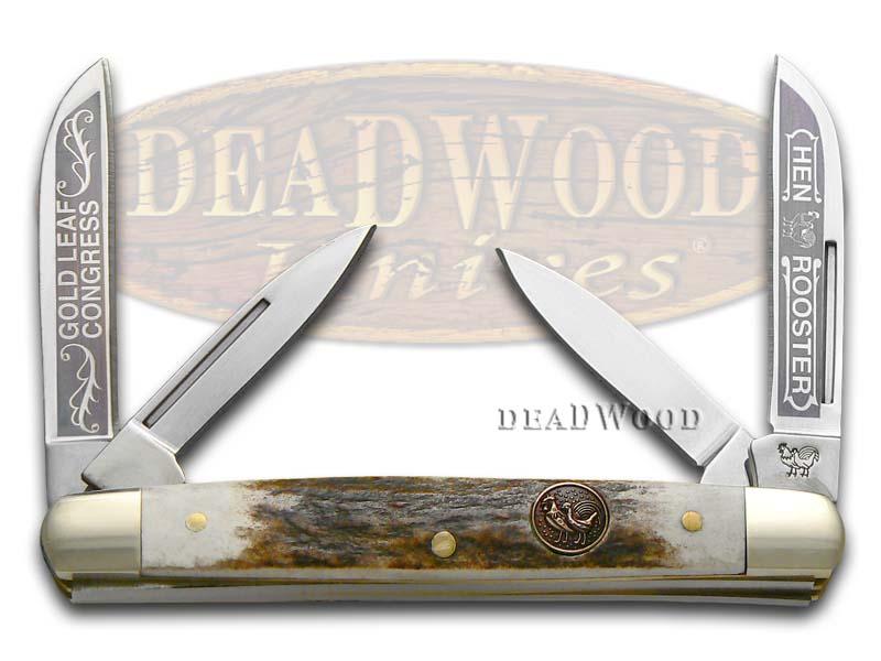 Hen & Rooster Gold Leaf Deer Stag Medium Congress Stainless Pocket Knife
