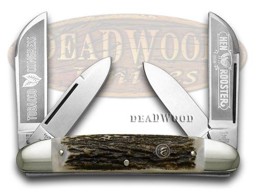 Hen & Rooster Genuine Deer Stag Tobacco Congress Pocket Knife